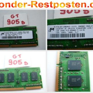 Micron Ramriegel 1GB RAM DDR3 Notebook Speicher 1GB 1Rx8 PC3-8500S-7-10-B1 GS905